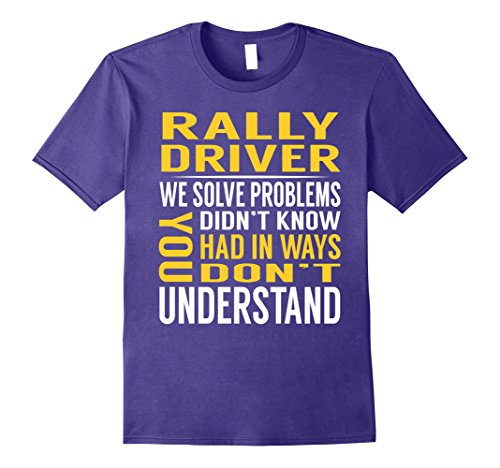 Rally Driver Costume (Mens Rally Driver Solve Problems TShirt Large Purple)
