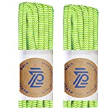 Mercury + Maia Round Shoe Laces for Sneakers and Boots - USA Made [2 Pair Pack] (Neon Green/White, 54 inches)