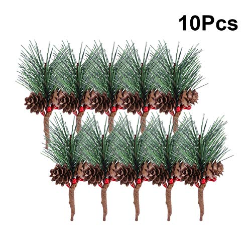 Vosarea 10pcs Artificial Pine Picks with Berries Pinecones Christmas Trees Decoration Stems Flower Arrangements Wreaths