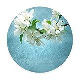 3D printing Round Area Rug Non-Slip Backing Machine Washable Super Soft Carpet Floor Mat 35 inch(3ft) Diameter Custom Desige white flower (WHITE FLOWER) Review