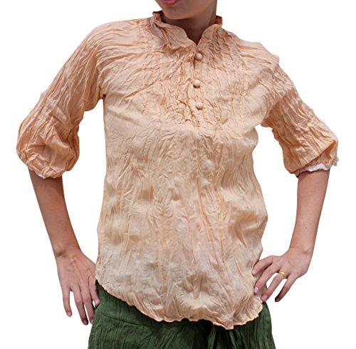 Thai Cotton Ladies Shirts (RaanPahMuang Brand Ladies Light Cotton Italian Summer Shirt, Medium, Peach Orange)