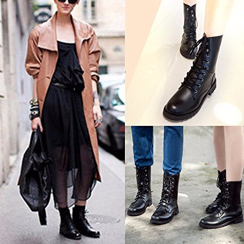 save off 77190 ee3df outlet Rawdah Noir Bottes Femmes Hommes Lace Up Flat Biker Military Army  Combat Black Boots Chaussures