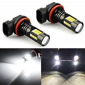 JDM ASTAR 2400 Lumens Extremely Bright PX Chipets H11 H8 LED Fog Light Bulbs for DRL or Fog Lights, Xenon White (H11, White)