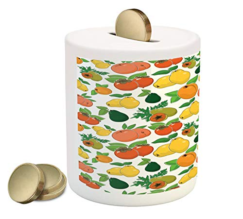 Juicy Apricot - Ambesonne Vegan Piggy Bank, Juicy Peach Sweet Apricot Quince with Fresh Persimmon Ripe Papaya and Avocado Pattern, Printed Ceramic Coin Bank Money Box for Cash Saving, Multicolor