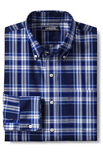 Lands' End Men's Traditional Fit No Iron Twill Shirt, L, Deep Sea/Dusty Lupine Plaid