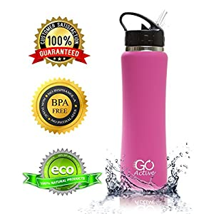 GO Bottles Stainless Steel Insulated with Flip Straw and Sweat-Proof Rubber Grip H2O Sports Drinking Bottle is BPA Free, Portable, Durable, Good for Kids, Keeps Ice Over 20 hours, 17 oz., Pink