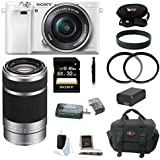 Sony Alpha a6000 (ILCE6000LW ILCE-6000LW ILCE6000L/W) Interchangeable Lens Camera with 16-50mm Power Zoom Lens (White) + Sony E 55-210mm F4.5-6.3 OSS Lens for Sony E-Mount Cameras (Silver) + Sony 32GB SDHC/SDXC Memory Card + Card Reader + Two UV Filters + Replacement Battery + Deluxe Accessory Kit