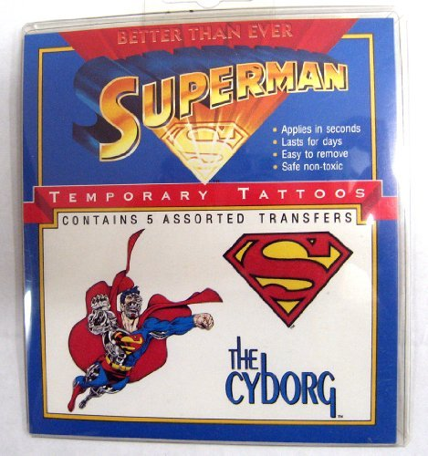 SUPERMAN Temporary Tattoos (5) The CYBORG assortment / 1993 (Cyborg Tattoo)