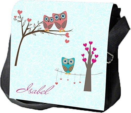 Schultertasche Umhängetasche Handtasche personalisiertes Geschenk Eulen Liebe Ausgehtasche Partytasche