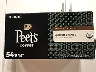 Peet's Coffee K-Cups, Dark Roast Yosemite Organic Arabica coffee, 54 Count Pods Single Cup Coffee Pods, Complex Dark Roast Coffee Blend, with A Full Bodies and Sweet smooth and satisfying by Peet's Coffee,INC