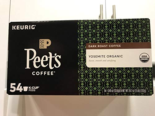 Peet's Coffee K-Cups, Dark Roast Yosemite Organic Arabica coffee, 54 Count Pods Single Cup Coffee Pods, Complex Dark Roast Coffee Blend, with A Full Bodies and Sweet smooth and satisfying
