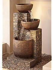 "John Timberland Mason Outdoor Floor Water Fountain Three Bowl Floor Cascade 35"" for Yard Garden Lawn"