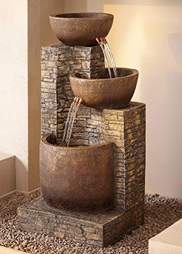 "John Timberland Mason Outdoor Floor Water Fountain Three Bowl Floor Cascade 35"" for Yard Garden Lawn - 35"" high x 15"" wide x 16 1/2"" deep. Weighs 26 lbs. Plug-in stone finish fountain with light. From the John Timberland brand. Three tiers of water bowls creates a soothing, relaxing sound. Can be used indoors or outside. - patio, outdoor-decor, fountains - 51u1EFUn1xL -"