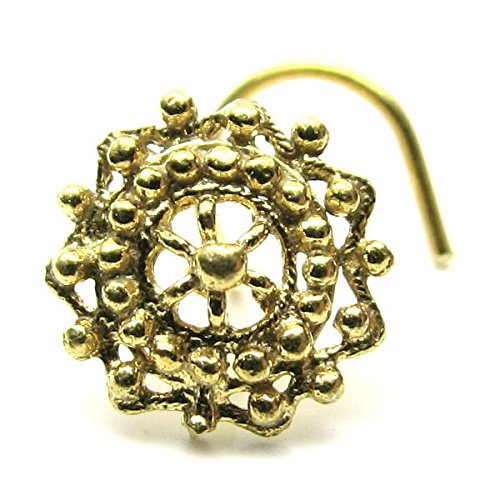 Buy Indian Nose Cork Screw Gold Plated L Bend Nose Ring 22g
