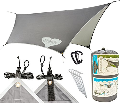 Tarp Shelter by Gnarwhal Gear - 12 x 9 Feet - Waterproof, Lightweight Rain-Fly Kit Perfect for Camping or Backpacking - Essential Hammock Tarp-Tent and Sun Shade Canopy by Gnarwhal Gear
