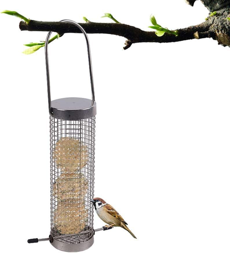 BSTCAR Comedero Pajaros, Acero Inoxidable Comedero Cilíndrico De Pájaros para Alimento En Bloque De Sebo para Pájaros De Pelota De Fat Feeder Pájaro Tuerca Feeder