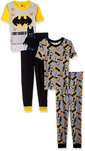 LEGO Batman Big Boys' Pajama, 4 Piece PJ Set,Short Sleeve Long Pants,Cotton, Black Yellow, 6