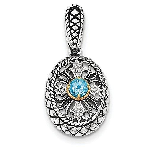 Or 14carats et en argent sterling avec topaze bleu et or pendentif ovale CZ Filagree