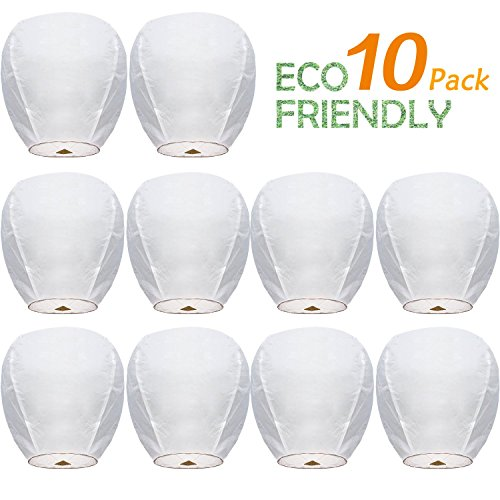 Chinese Paper Flying Sky Lanterns Wire-Free Flying 100% Biodegradable- for Wedding, Christmas, Memorial, Party Wish (10 Pack) by SWENAFER