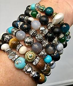 Cris Frazao Designs Natural Gemstone Stretch Bracelets
