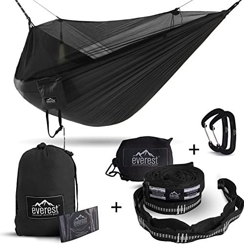 Everest Double Camping Hammock with Mosquito Net Bug-Free Camping, Hiking, Backpacking Survival Outdoor Hammock Tent Reversible, Integrated, Lightweight, Ripstop Nylon Black Black Net Black