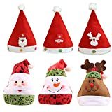 LOHOME Santa Christmas Hat - Pack of 6 Nice Festive Holiday Hat Christmas theme hats for Childrens and Adults Celebrations and Recreation