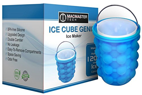 Bucket Tech Ice (Ice Cube Maker Genie – Silicone – LARGE | (5.3X5.7in) | Dual-Chamber Space Saving Ice Tray Mold Bucket | Cocktail, Smoothie, Beverage & Frozen Food Chiller – Features an Upgraded Leakproof Design)
