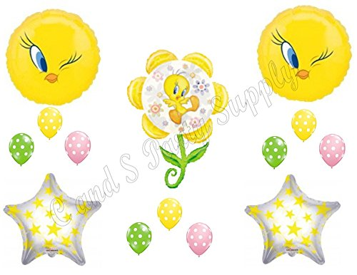 TWEETY BIRD FLOWER WINKING Happy Birthday Party Balloons Decoration Supplies (Tweety Bird Party Supplies compare prices)