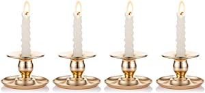 Nuptio 4 Pcs Metal Taper Candle Holders Candlestick Holder Dining Room Centerpieces Ideal Gift for Weddings, Party Favor, Reki, Meditation
