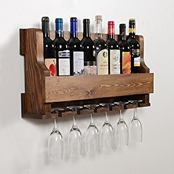 Woodymood Natural Wine Rack Gloss Holder, Wall Mounted Wine Racks, 8 Bottles, Hangers for 6 wine glasses, W 28.5 L 4 H 13 Brown