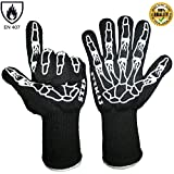 "STEMAJ Heat Resistant Gloves 932F - BBQ Gloves - Grilling Gloves - Fire Resistant Gloves - Cut Resistant - for Cooking, BBQ, Oven, Fireplace - 5"" Cuff for Extra Forearm Protection (Skeleton)"