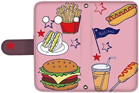 スマQ BASIO KYV32 国内生産 カード スマホケース 手帳型 KYOCERA 京セラ ベイシオ 【B.ピンク】 アメリカン ハンバーガー ami_q0006-v0100