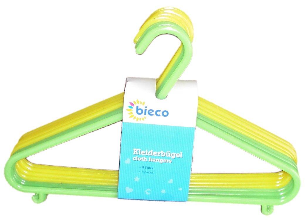 Bieco - Kinder Kleiderbügel Kunststoff, 8er Set, 2 Farben grün/gelb 2 Farben grün/gelb