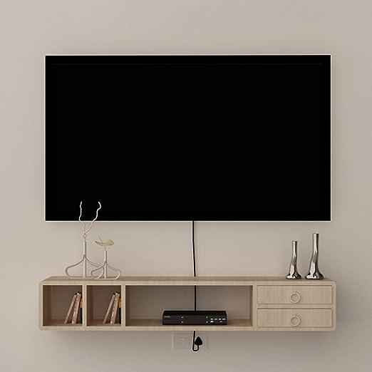 XINGPING-Shelf Consola de Medios montada en la Pared Rack de TV Flotante Conjunto de Rack Rack decodificador Armario de TV montado en la Pared Cabina de Pared Plana pequeña: Amazon.es: Hogar