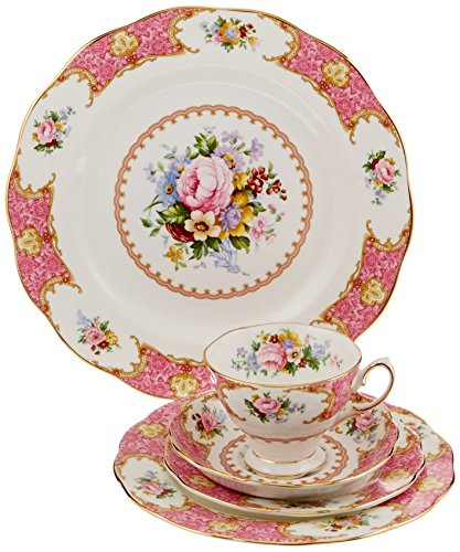 Royal Albert 15135002 Lady Carlyle 5-Piece Place Setting, Service for 1 (Royal Albert Flower Of The Month Tea Cups)