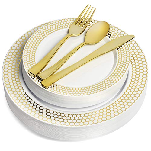 125 Piece Gold Rim Design Dinnerware Set - 25 Guest Heavyweight Tableware Combo Set - Disposable or Reusable - 25 Dinner Plates - 25 Salad Plates or Dessert Plates - 25 Knives - 25 Forks - 25 Spoons -