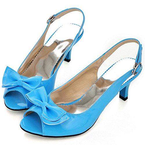 FANIMILA Mujer Moda Peep Toe Tacon medio Delgado Sandalias Dulce Bowtie Slingback Zapatos Azul
