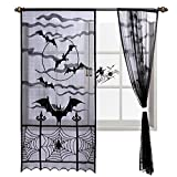 Hokic 2pcs Black Bats Halloween Lace Window Curtain, Halloween Black Spooky Spider Web Door Curtain Panel Halloween Window Dewcorations, 40 x 84 inch