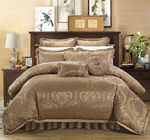 Chic Home 9 Piece Como Decorator Upholstery Quality Jacquard Motif Fabric Bedroom Comforter Set & Pillows Ensemble, King, Gold - bedroomdesign.us