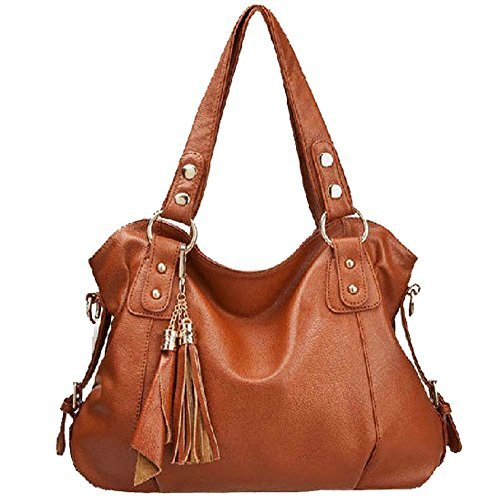 Win8Fong-Leather-Cowhide-Womens-Tassel-Bag-Shoulder-Bag-Vintage-Handbag-Brown
