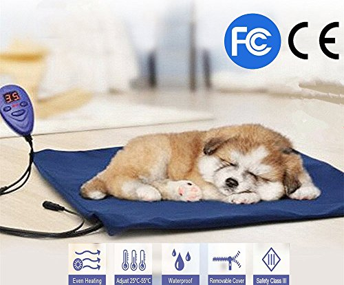 FLYMEI Pet Heating Pad, Dog Cat Electric Heating Pad Waterproof Adjustable Warming Mat with Chew Resistant Cord, Soft Removable Cover, Overheat Protection (Pet Heating Pad)
