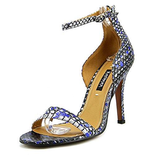Kay Unger Femmes Mandie Cheville Sangle Sandale Argent / Bleu Éclaboussures
