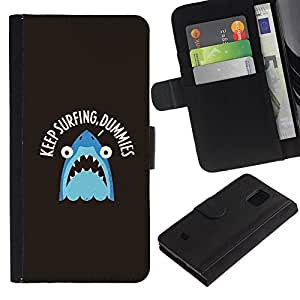 KingStore / Leather Etui en cuir / Samsung Galaxy S5 Mini, SM-G800 / Surf Surfer Mar Tiburón Slogan