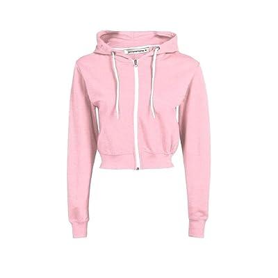 New Womens Hooded Zip Up Crop Hoodie Plain Fleece Jacket Sweatshirt Jumper Top at Women's Clothing store