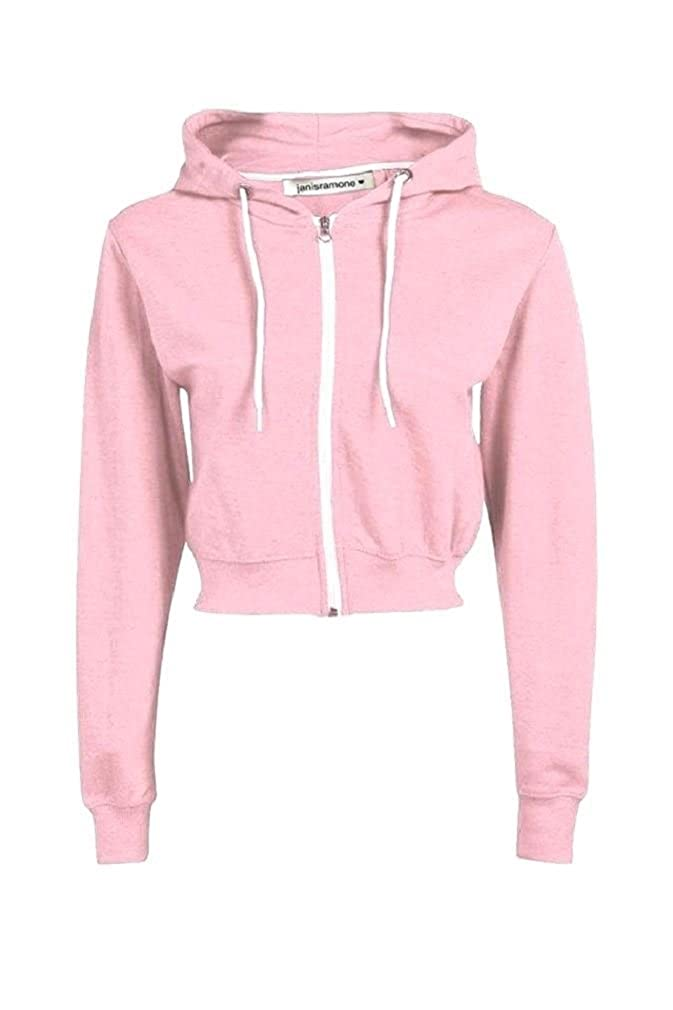 57c6c860 New Fashion Long Sleeve Plain Fleece Cropped Sweatshirt Jumper Top  Material: 95% Viscose 5% Elastane Excellent Quality Hooded Neck Zip Up 2  Side Kangaroo ...