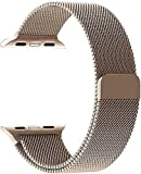 Mifan Official Milanese Loop Band for Apple Watch 44mm/42mm Series 1/2/3/4 Replacement Strap Light Gold Mesh Stainless Steel Anti Sweat Cooling Wristband Bracelet with Magnetic Clasp