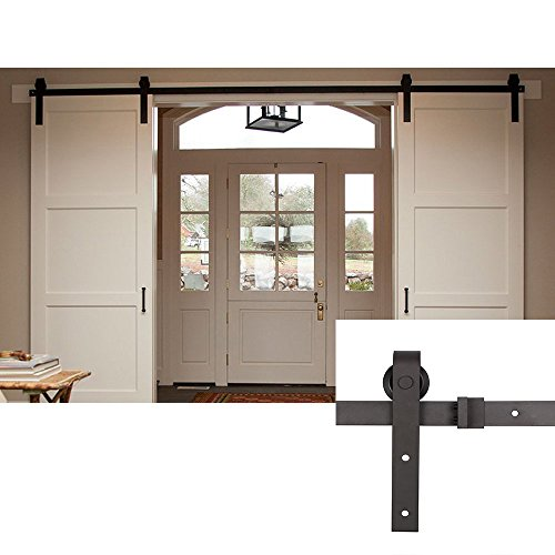 Homedex 13 FT Double Door Sliding Barn Door Hardware (Black) (J Shape Hangers)