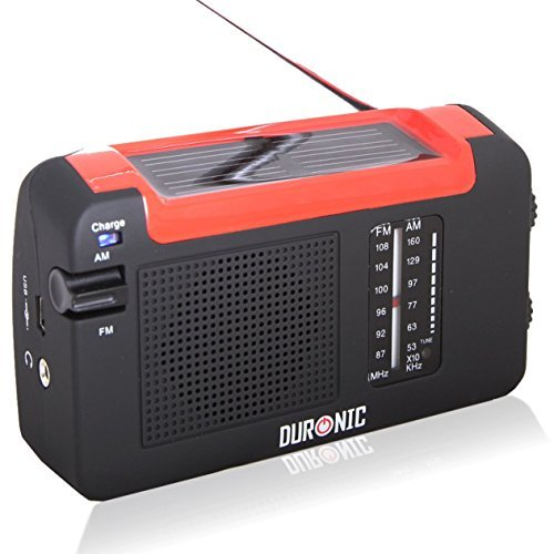 Duronic Hybrid Hand crank, self-powered, Solar AM/FM Radio with USB charger cable - Perfect for Walking, Hiking, Camping, Home, Garden, Holiday & More by Duronic