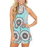 Spadehill Womens Cotton Casual Strap Sleeveless Jumpsuit Boho Summer Floral Print Beach Short Romper Light Blue M