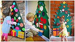 Outgeek Christmas Game DIY Felt Christmas Tree Kids Educational Toy Wall Decor with Hanging Rope
